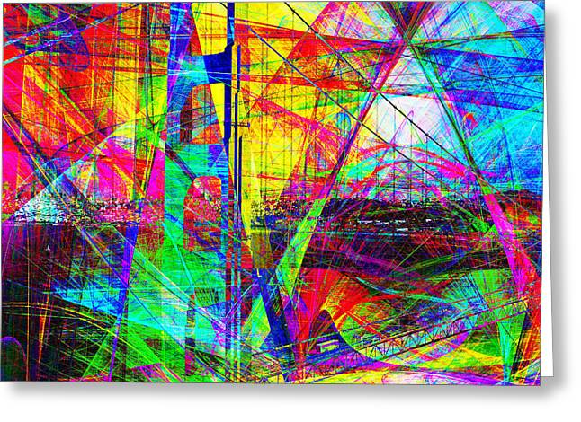 Golden Gate Bridge Abstract 7d14516 Square Greeting Card by Wingsdomain Art and Photography
