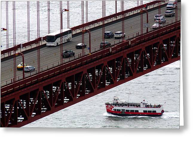 Golden Gate Bridge Aerial Tour Boat Greeting Card by Jeff Lowe