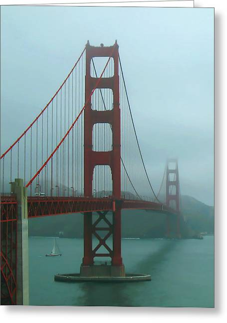 Golden Gate Bridge And Partial Arch In Color  Greeting Card by Connie Fox