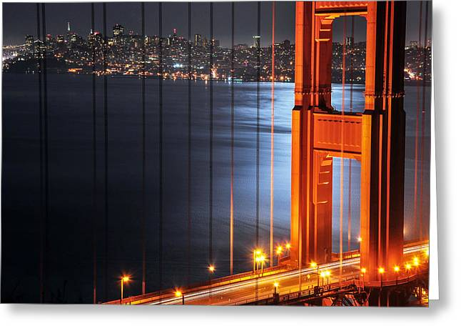 Golden Gate Bridge And Supermoon Greeting Card