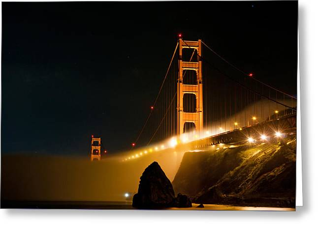 Golden Gate Bridge At Night In The Fog Greeting Card