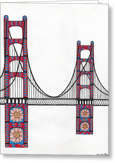 Golden Gate Bridge By Flower Child Greeting Card