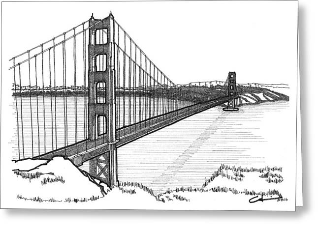 Greeting Card featuring the drawing Golden Gate Bridge by Calvin Durham