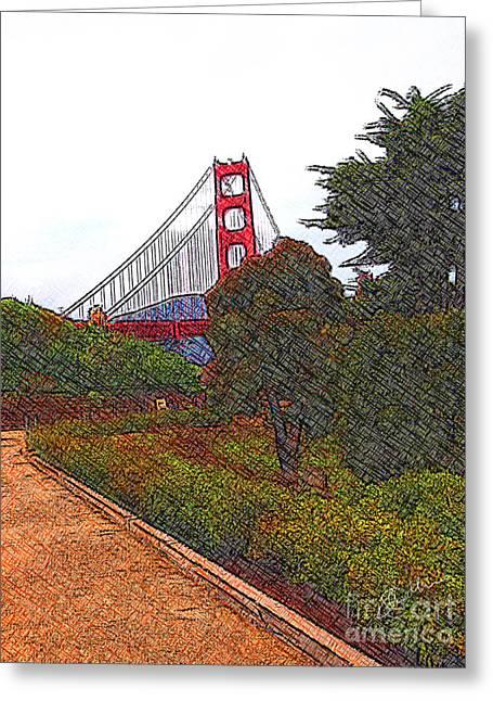 Golden Gate Bridge Crosshatch Greeting Card