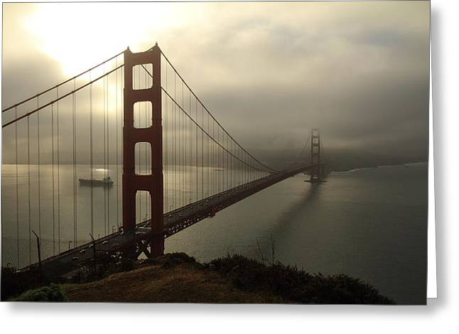 Greeting Card featuring the photograph Golden Gate Bridge Fog Lifting by Scott Rackers