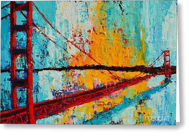 Golden Gate Bridge Modern Impressionistic Landscape Painting Palette Knife Work Greeting Card