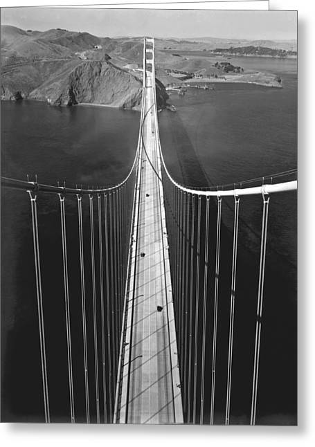 Golden Gate Bridge In 1937 Greeting Card by Underwood Archives
