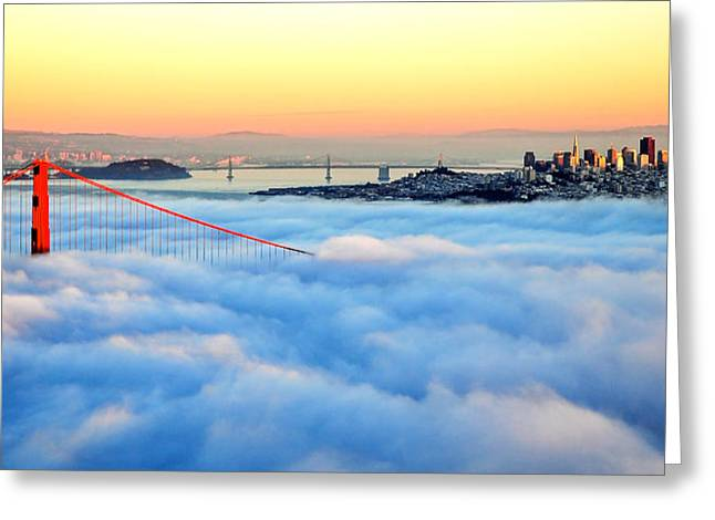 Golden Gate Bridge In Fog At Sunset Greeting Card