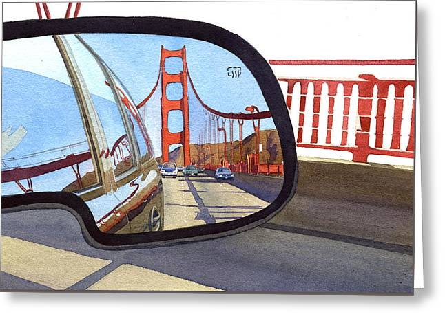 Golden Gate Bridge In Side View Mirror Greeting Card