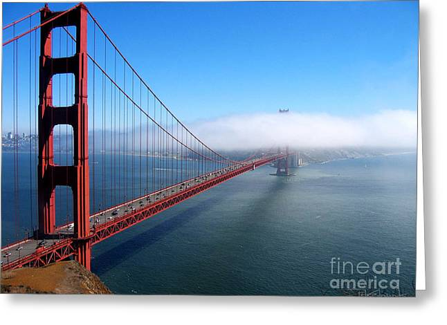 Golden Gate Bridge - Into The Mist Greeting Card by Pete Edmunds