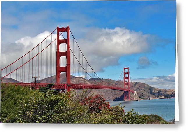 Golden Gate Bridge Greeting Card by Linda Sannuti
