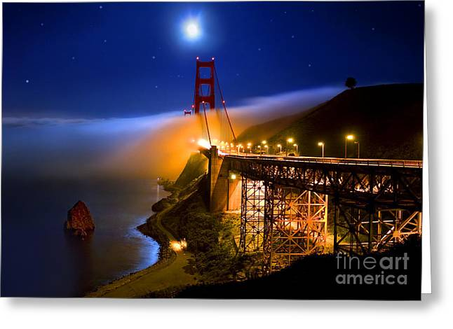 Golden Gate Bridge Moon Fog Mystery Greeting Card
