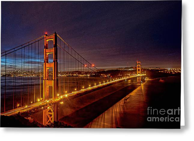 Golden Gate Bridge Greeting Card by Peter Dang
