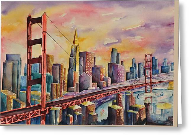 Golden Gate Bridge - San Francisco Greeting Card by Joy Skinner