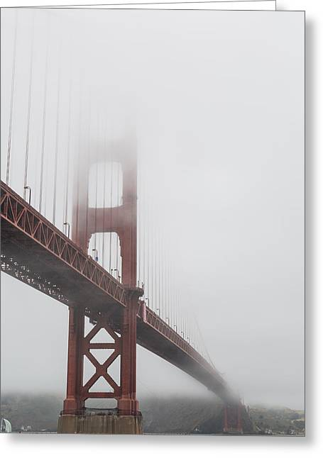 Golden Gate Bridge Shrouded In Fog Greeting Card by Adam Romanowicz