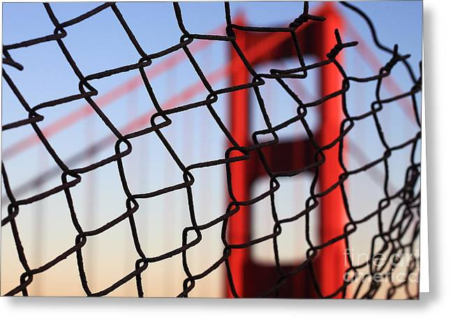 Golden Gate Bridge Through The Fence Greeting Card