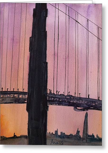 Golden Gate Bridge Tower Greeting Card by Anais DelaVega