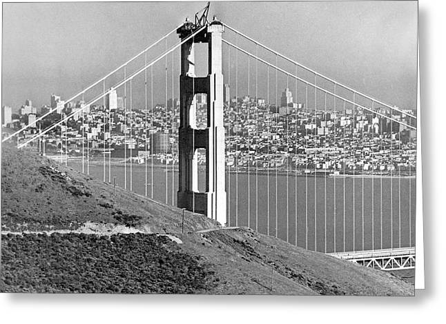 Golden Gate Bridge Tower Greeting Card by Underwood Archives