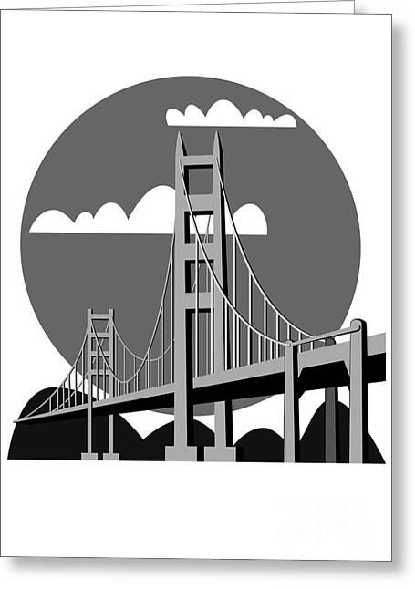 Golden Gate Bridge - Vector Greeting Card by Michal Boubin