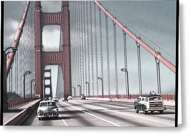 Golden Gate Crossing Greeting Card by Eric  Bjerke Sr