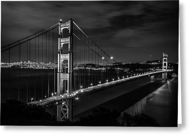 Golden Gate Evening- Mono Greeting Card by Linda Villers