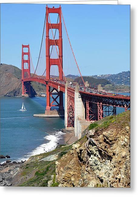 Golden Gate Greeting Card by Gina Savage