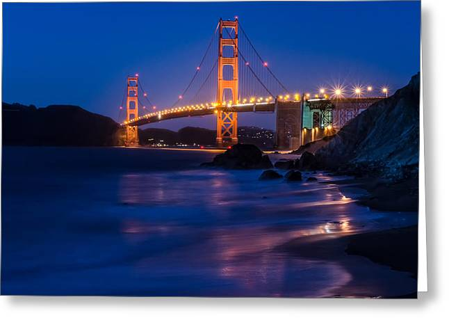 Golden Gate Glow Greeting Card by Linda Villers