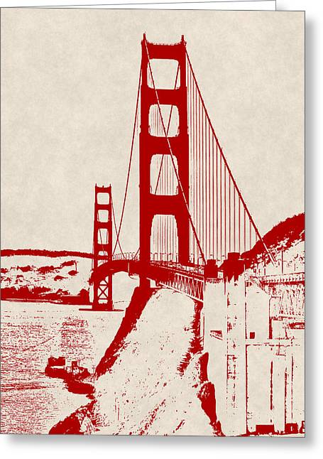 Golden Gate In Orange Greeting Card by Daniel Hagerman