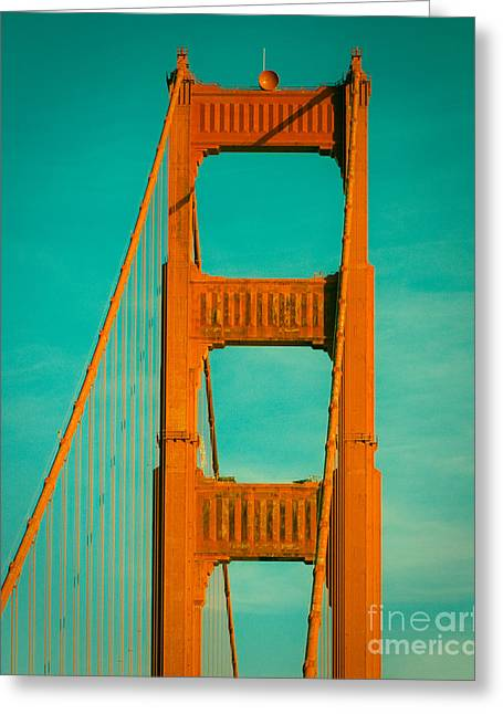 Golden Gate In Turquoise Greeting Card by Sonja Quintero