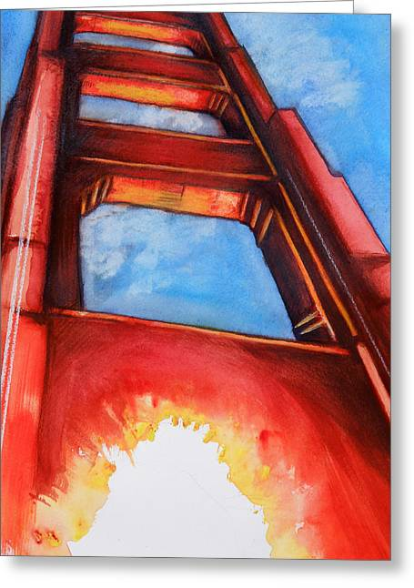 Greeting Card featuring the painting Golden Gate Light by Rene Capone