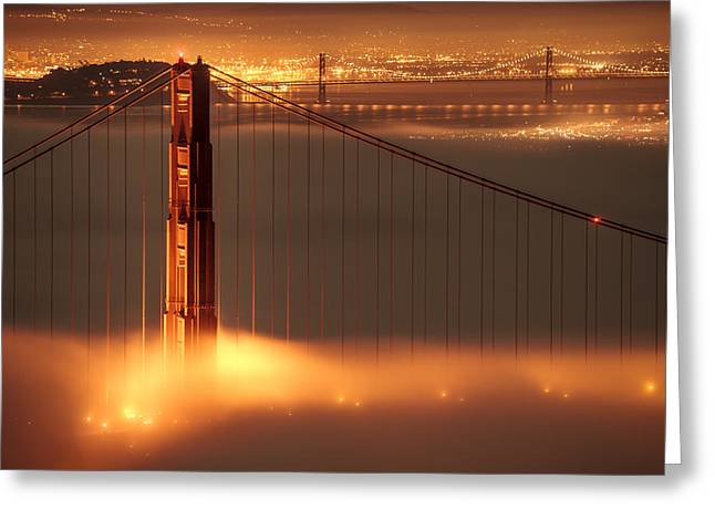 San Francisco - Golden Gate On Fire Greeting Card