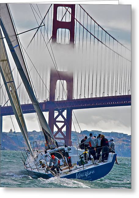 Golden Gate Sailing Greeting Card by Steven Lapkin