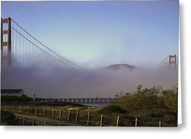 Greeting Card featuring the photograph Golden Gate Soft Fog by Michael Hope