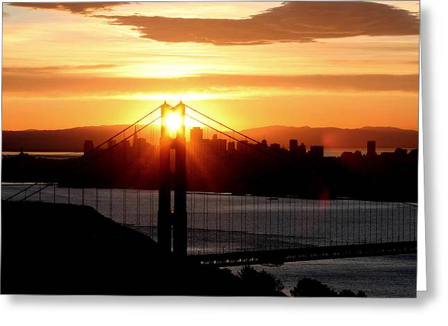 Greeting Card featuring the photograph Golden Gate Sunrise 12-2-11 by Christopher McKenzie
