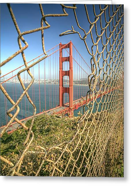 Golden Gate Through The Fence Greeting Card