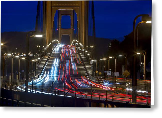 Golden Gate Traffic Greeting Card by Dave Cleaveland