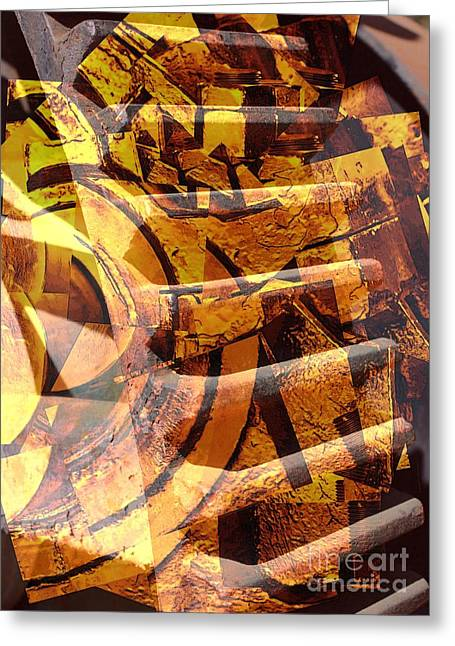 Golden Gears Abstract Greeting Card by Carol Groenen