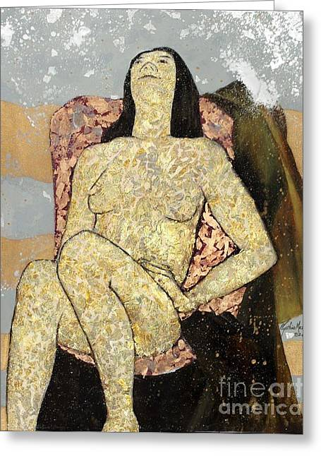 Greeting Card featuring the painting Golden Girl Reclining by Cynthia Parsons