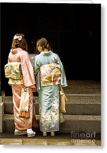 Golden Glow - Japanese Women Wearing Beautiful Kimono Greeting Card