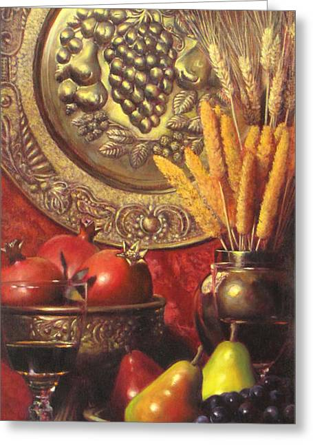 Golden Harvest With Red Wine Greeting Card by Takayuki Harada