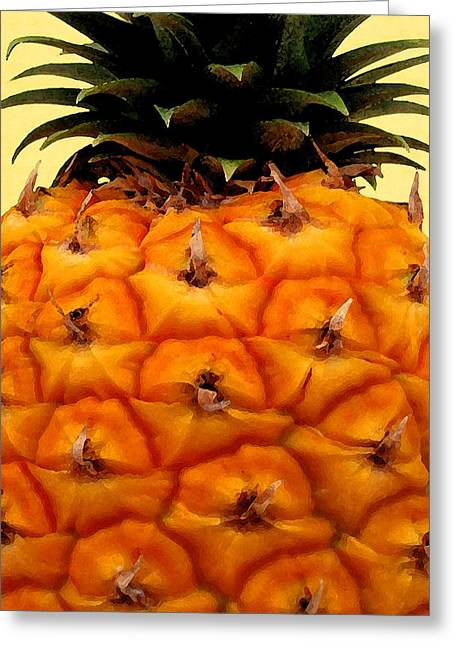 Golden Hawaiian Pineapple Greeting Card by James Temple