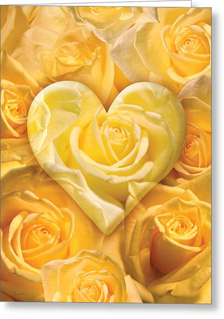 Golden Heart Of Roses Greeting Card by Alixandra Mullins