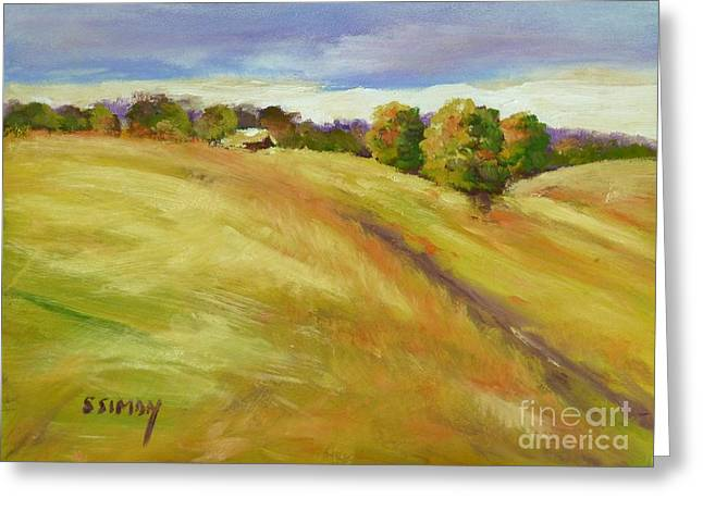 Greeting Card featuring the painting Golden Hills by Sally Simon