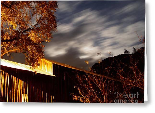 Golden Honeyrun Covered Bridge Greeting Card by Peter Piatt