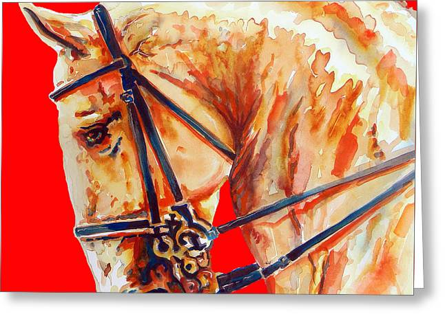 Golden Horse In Red Greeting Card
