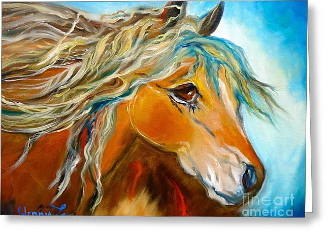 Greeting Card featuring the painting Golden Horse by Jenny Lee