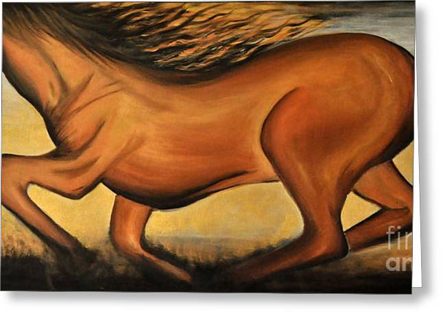 Golden Horse Greeting Card by Preethi Mathialagan
