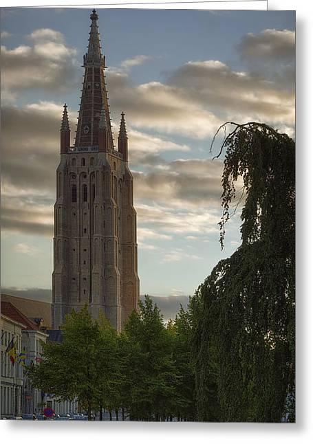 Golden Hour Church Glow Greeting Card by Joan Carroll