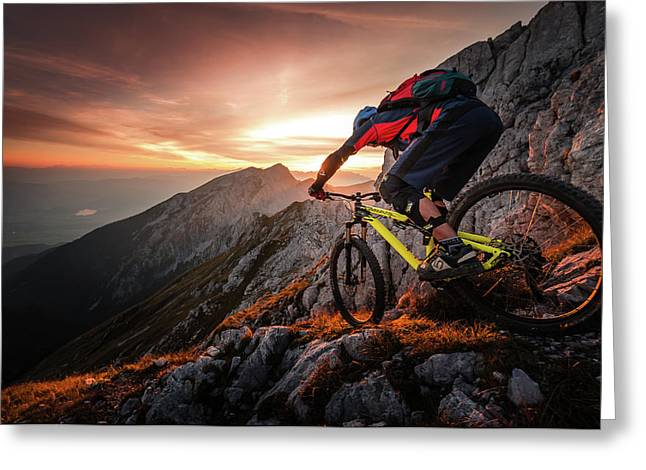 Golden Hour High Alpine Ride Greeting Card