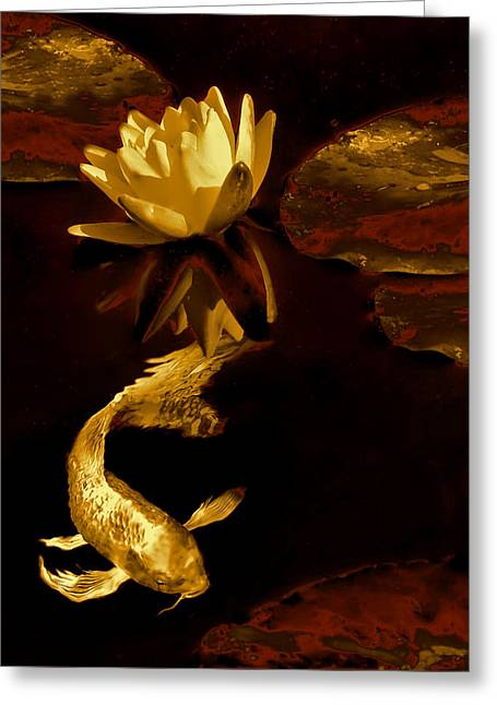 Golden Koi Fish And Water Lily Flower Greeting Card by Jennie Marie Schell